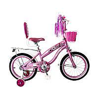Испанский детский розовый велосипед для девочки с корзинкой RUEDA 18 дюймов (Цветочек) на 5-8 лет