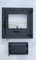 Дверцы раздельные для камина печи барбекю 400*400 мм. Печная дверца со стеклом