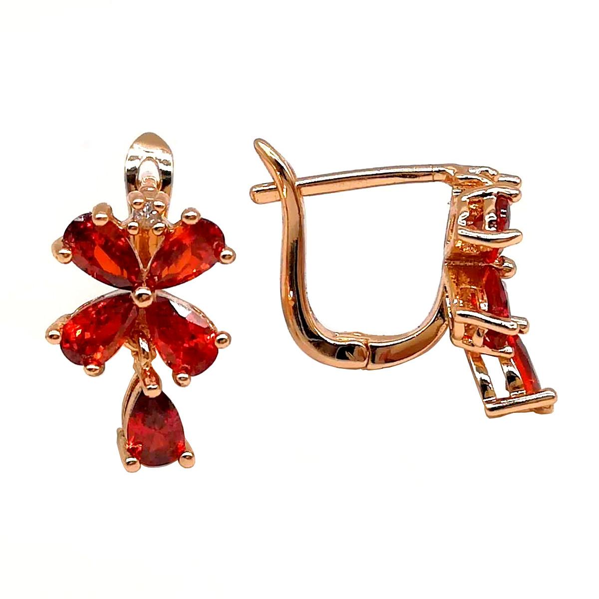 Серьги Xuping из медицинского золота, красные фианиты, позолота 18К, 23454       (1)