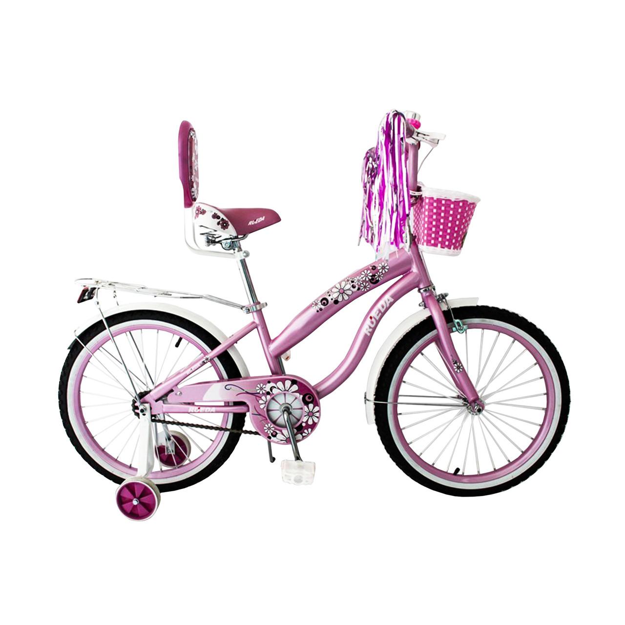 Испанский детский розовый велосипед с корзинкой RUEDA 20 дюймов (Цветочек) от 10 лет