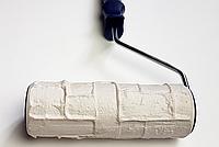 Валик с ручкой структурный резиновый натуральный декоративный камень 60х180мм для краски и шпаклёвки, фото 1