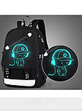 Светящийся городской рюкзак Senkey&Style школьный портфель с мальчиком черный  Код 10-7115, фото 5