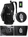 Светящийся городской рюкзак Senkey&Style школьный портфель с мальчиком черный  Код 10-7115, фото 10