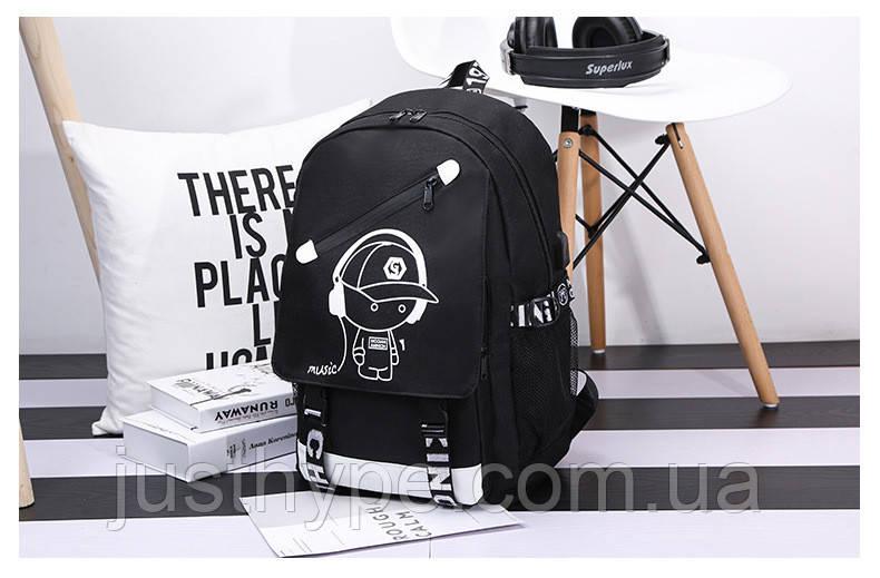 Светящийся городской рюкзак Senkey&Style школьный портфель с мальчиком черный  Код 10-7122