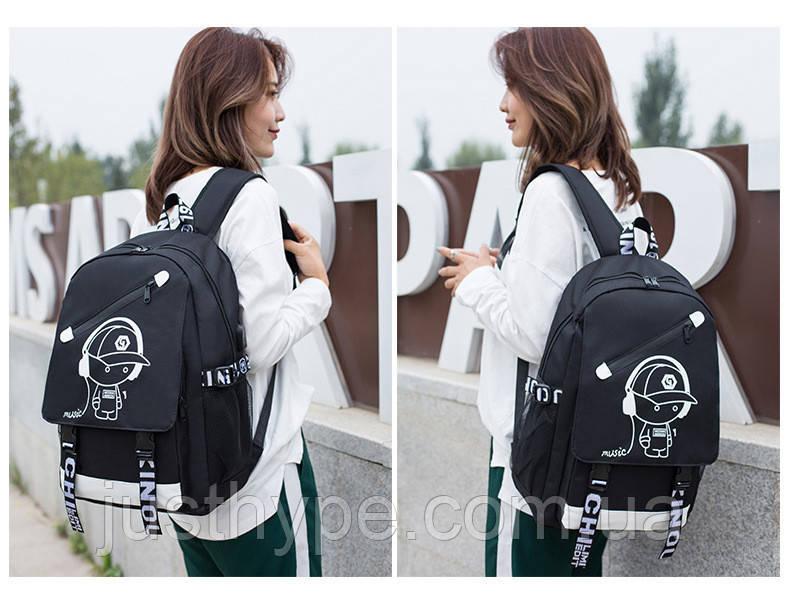 Светящийся городской рюкзак Senkey&Style школьный портфель с мальчиком черный  Код 10-7123