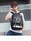 Светящийся городской рюкзак Senkey&Style школьный портфель с мальчиком черный  Код 10-7123, фото 7