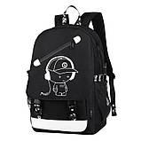 Светящийся городской рюкзак Senkey&Style школьный портфель с мальчиком серый  Код 10-7126, фото 3