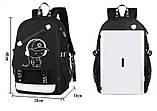 Светящийся городской рюкзак Senkey&Style школьный портфель с мальчиком черный  Код 10-7130, фото 9