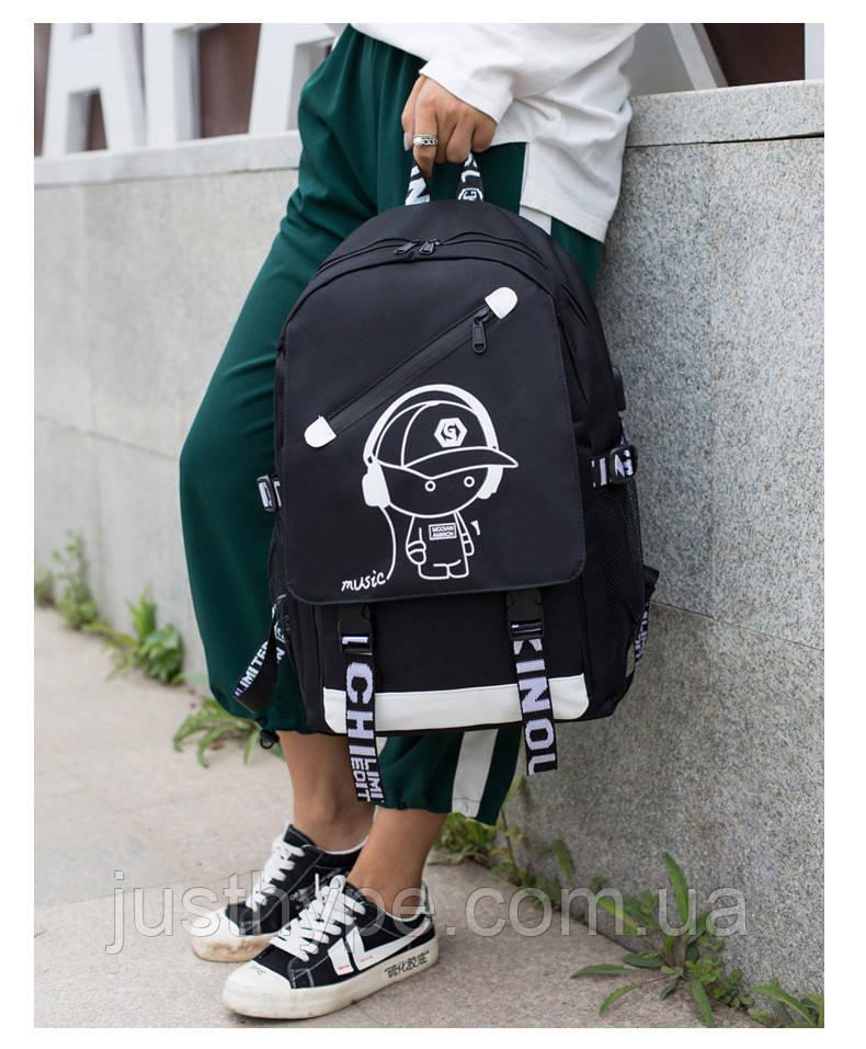 Светящийся городской рюкзак Senkey&Style школьный портфель с мальчиком черный  Код 10-7138