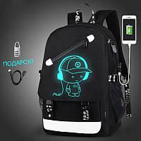 Светящийся городской рюкзак Senkey&Style школьный портфель с мальчиком черный  Код 10-7148