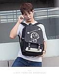 Светящийся городской рюкзак Senkey&Style школьный портфель с мальчиком черный  Код 10-7174, фото 7