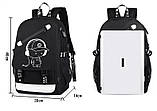 Светящийся городской рюкзак Senkey&Style школьный портфель с мальчиком черный  Код 10-7181, фото 9