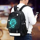 Светящийся городской рюкзак Senkey&Style школьный портфель с мальчиком черный  Код 10-7182, фото 6