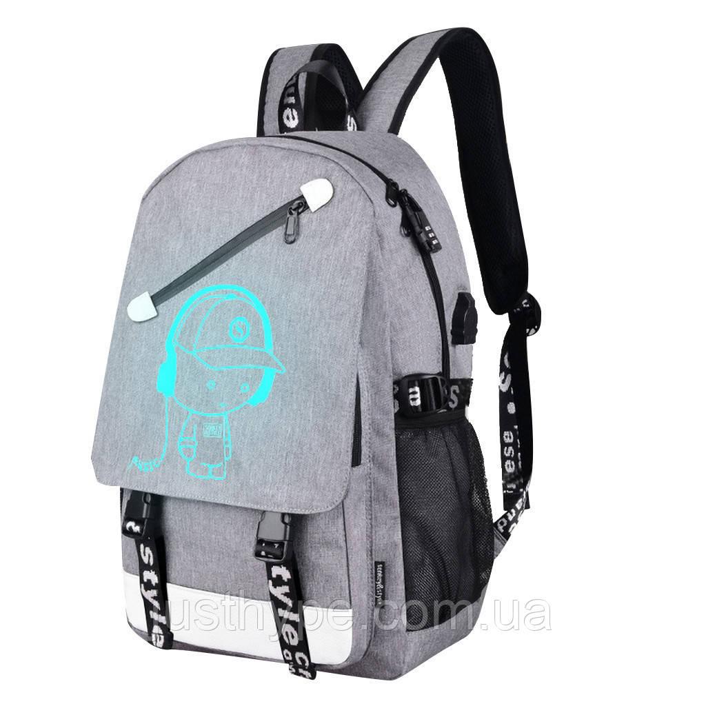 Светящийся городской рюкзак Senkey&Style школьный портфель с мальчиком серый  Код 10-7196