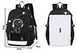 Светящийся городской рюкзак Senkey&Style школьный портфель с мальчиком черный  Код 10-7197, фото 9