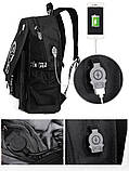 Светящийся городской рюкзак Senkey&Style школьный портфель с мальчиком черный  Код 10-7208, фото 10