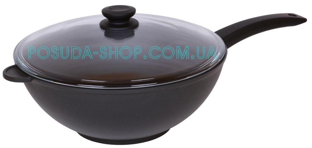 Сковорода Биол WOK антипригарная с стеклянной крышкой 30 см 3002ПС