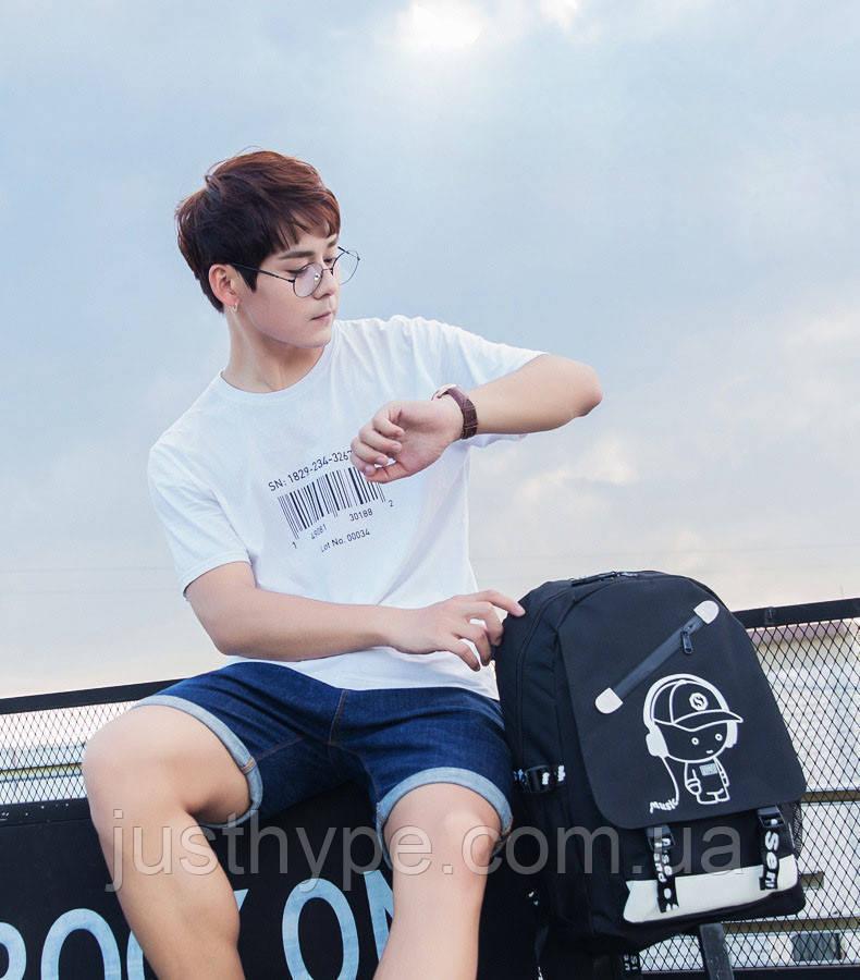 Светящийся городской рюкзак Senkey&Style школьный портфель с мальчиком черный  Код 10-7226