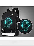 Светящийся городской рюкзак Senkey&Style школьный портфель с мальчиком черный  Код 10-7231, фото 4
