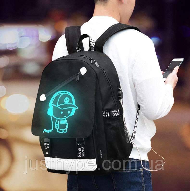 Светящийся городской рюкзак Senkey&Style школьный портфель с мальчиком черный  Код 10-7239