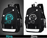 Светящийся городской рюкзак Senkey&Style школьный портфель с мальчиком черный  Код 10-7239, фото 6