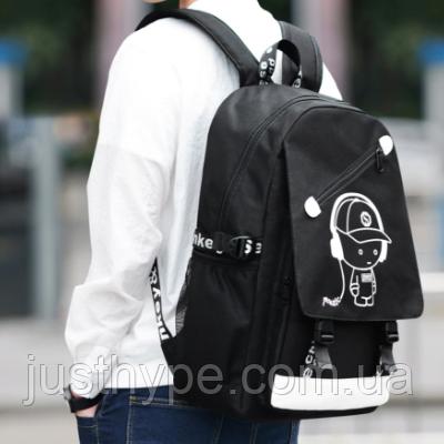 Светящийся городской рюкзак Senkey&Style школьный портфель с мальчиком черный  Код 10-7244