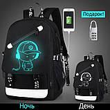 Светящийся городской рюкзак Senkey&Style школьный портфель с мальчиком черный  Код 10-7244, фото 3