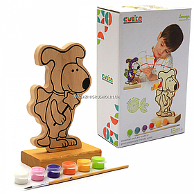 Набор для творчества - деревянная игра-раскраска щенок (с красками), 16 см (13838)