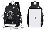 Светящийся городской рюкзак Senkey&Style школьный портфель с мальчиком серый  Код 10-7262, фото 9