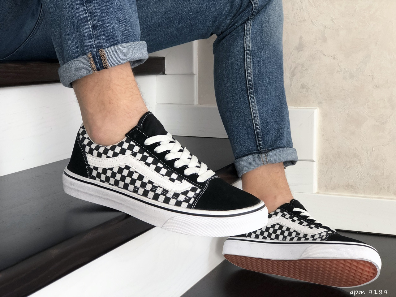 Мужские кроссовки Vans (черно-белые) 9189