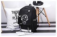 Светящийся городской рюкзак Senkey&Style школьный портфель с мальчиком черный Код 10-7139