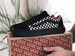 Чоловічі кросівки Vans (чорно-білі з червоним) 9190, фото 4
