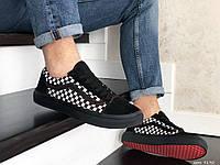 Мужские кроссовки Vans (черно-белые с красным) 9190