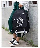 Светящийся городской рюкзак Senkey&Style школьный портфель с мальчиком черный Код 10-7155
