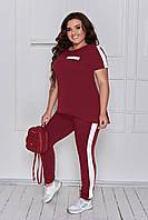 Спортивный женский костюм весна-лето, брюки с футболкой, 5 цветов, размеры - 48-50;52-54;56-58 200П