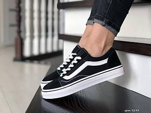 Кеды женские ванс черные черно-белые демисезонные (реплика) Vans Black