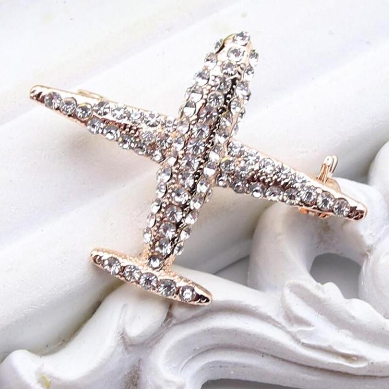 """Брошь """"Самолёт с прямыми крыльями"""" с кристаллами"""