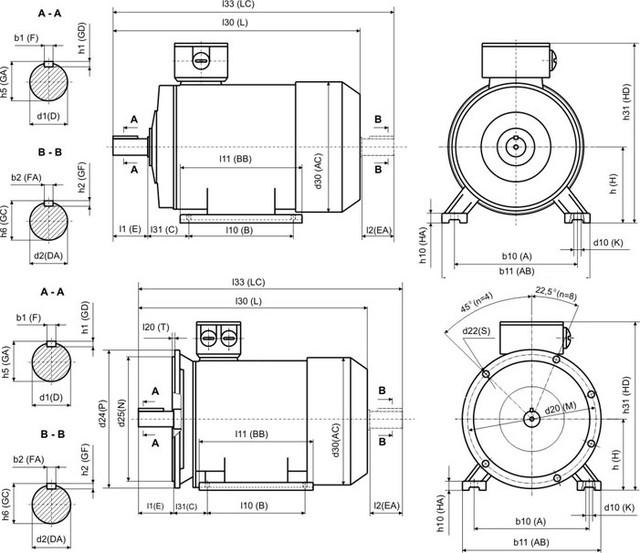 Габаритные и установочные размеры моделиАИР 100 S4