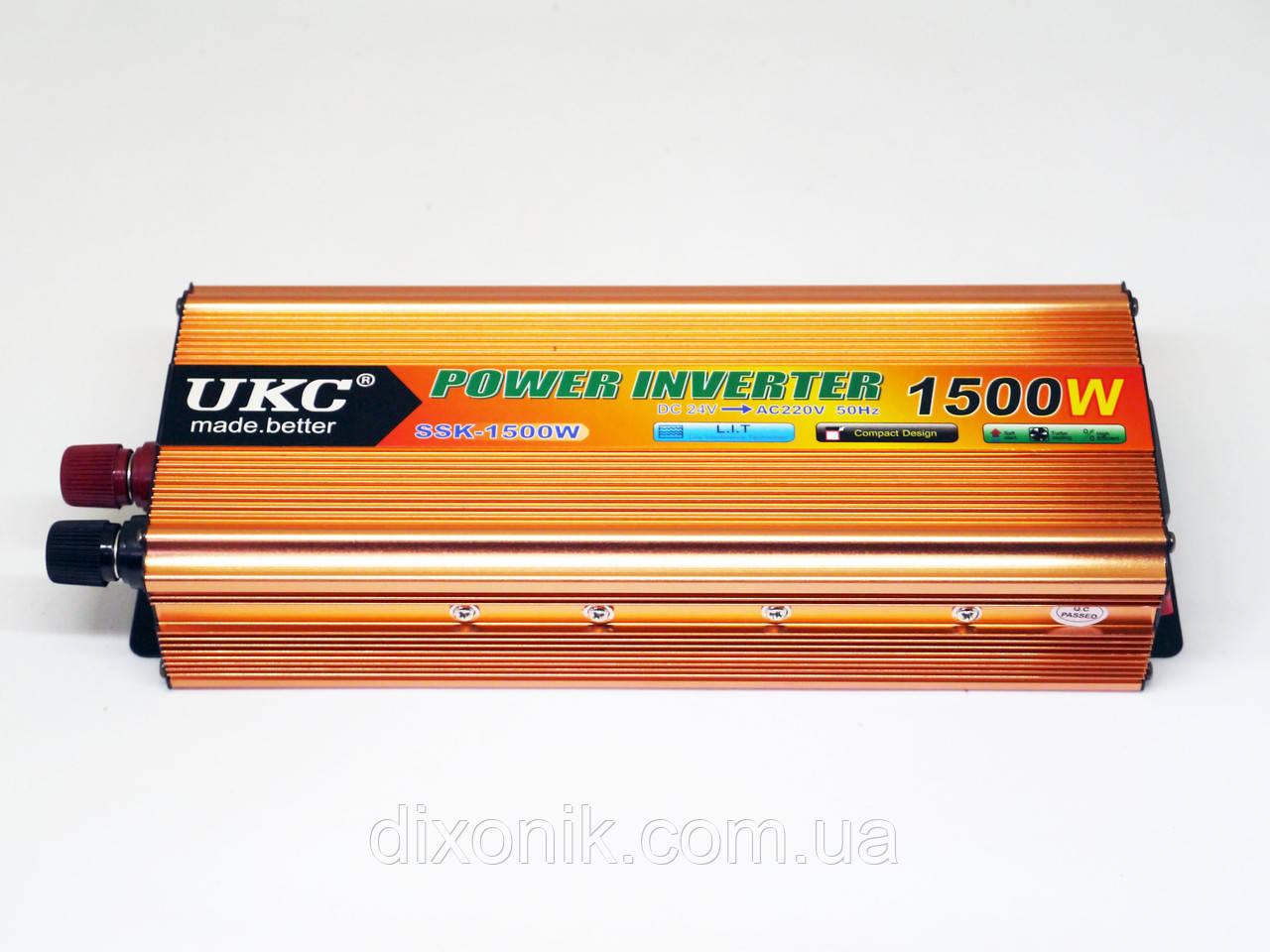 Инвертор UKC 1500W 24V Преобразователь тока AC/DC Gold 24V в 220V