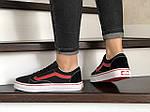 Жіночі кросівки Vans (чорно-червоні) 9195, фото 4