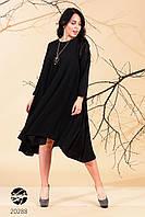 Чёрное  асимметричное свободное платье батал