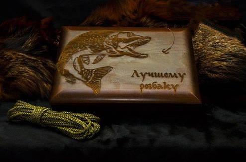 """Ножевой подарочный набор для рыбака """"Царский улов"""" - с авторским ножом и флягой в футляре, фото 2"""