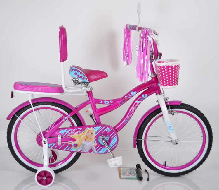 Детский фиолетовый велосипед для девочки Flora 20 дюймов с корзинкой и багажником для куклы от 10 лет