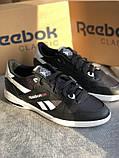 Мужские черные кроссовки reebok оригинал натуральная кожа, фото 8