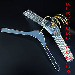 """Вешалки плечики акриловые прозрачные """"стеклянные"""" с золотым крючком, 43 см"""