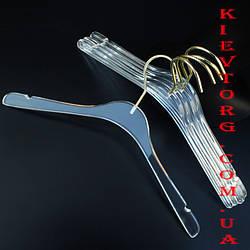 Вешалки плечики акриловые прозрачные с золотым крючком для платьев, 40 см
