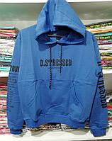 Молодежный свитшот с капюшоном и карманом - джинс - ОПТОМ, фото 1