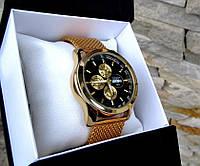 Суперкрутые мужские кварцевые часы золотой цвет  Чоловічий годинник Лучший подарок