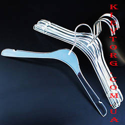 Вешалки плечики акриловые прозрачные для одежды, свадебных и вечерних платьев, 40 см
