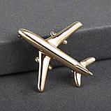 """Брошка """"Літак"""", колір: золото, фото 2"""